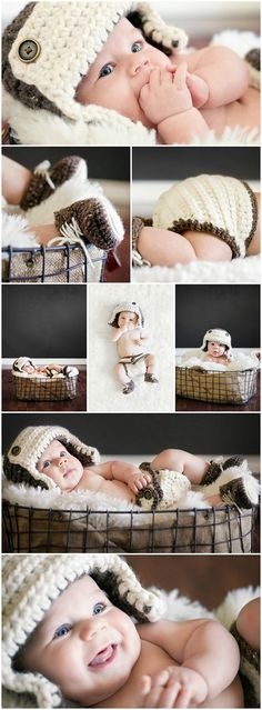 Baby boy photo shoot with crochet aviator accessory set! So adorable and so manly! Baby Boy Photos, Boy Pictures, Newborn Pictures, Cute Babies Photography, Newborn Photography, Boy Photo Shoot, Baby Girl Quotes, Foto Baby, Newborn Shoot