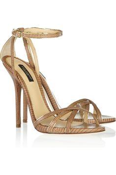 Dolce & Gabbana Lizard-effect leather sandals NET-A-PORTER.COM