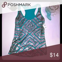 Perfect top to add some some sparkle to any day Turquoise and silver HOT sequin tank. Rayon/spandex blend. Perfect with boots and heels for your night out on the town;) size small NWT Charlotte Russe Tops Tank Tops