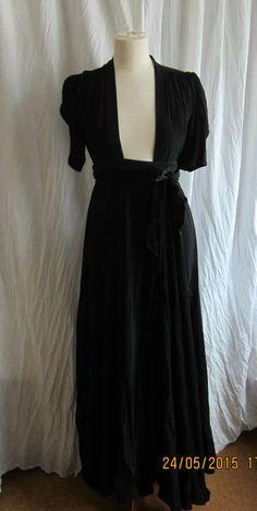 70 S True Vintage Ossie Clark rock  dress Red Carpet  Wrap Dress Maxi Black 10 Crepe