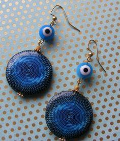 Eye of God Earringsdescoupage and glass beads by MarteenysJewelry, $10.00