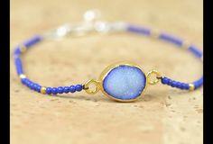 Pulseras de abalorios - Pulsera de plata 925 y Lapis lázuli.Druzy - hecho a mano por Zzaval en DaWanda