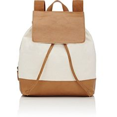 Barneys New York Women's Canvas & Leather Backpack ($109) ❤ liked on Polyvore featuring bags, backpacks, backpack, accessories, purses, tan, leather rucksack, leather knapsack, canvas drawstring backpack and barneys new york