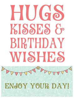 Hugs & Kisses Birthday Wishes Wine Bottle Label