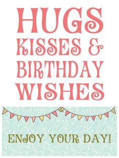 Hugs & Kisses Birthday Wishes Wine Bottle Label