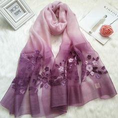 Embroidery Scarf, Floral Embroidery, Hand Embroidery, Blouse Designs High Neck, Designs For Dresses, Clothing Photography, Silk Shawl, Designer Scarves, Floral Fashion