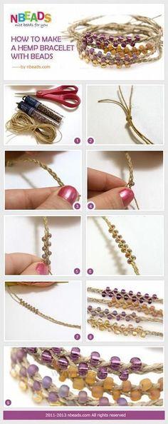Jewelry Making Bracelets how to make a hemp bracelet with beads - Hemp Jewelry, Macrame Jewelry, Jewelry Crafts, Handmade Jewelry, Diy Jewelry Tutorials, Maquillage Phosphorescent, Hemp Crafts, Bracelet Making, Jewelry Making