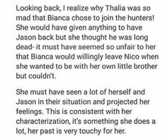 Thalia projecting her feelings on Bianca & Nico's sibling situation.