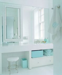 Love the unique bright tiffany blue bathroom accessories they make such a focal point against all the white Tiffany Blue Bathrooms, Tiffany Blue Bedroom, Turquoise Bathroom, White Bathroom, Master Bathroom, Green Bathrooms, Bad Inspiration, Bathroom Inspiration, Bathroom Ideas