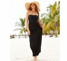 MKenneth Cole Luxury Solids Black Bandeau Maxi Dress Swimsuit Cover Up L NWT NEW #KennethCole #CoverUp