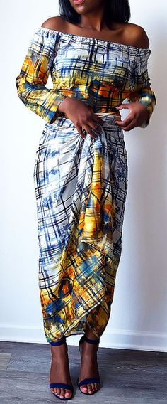 Rainha Satin Fitted Off Shoulder Contemporary Iro and Buba Set in Yellow. Our fitted bubas can be worn with other pieces in your closet such as pencil skirts, skinny jeans, shorts, etc. African Dresses For Women, African Print Dresses, African Attire, African Wear, African Women, African Prints, African Style, African Outfits, African Inspired Fashion