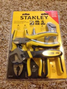 New! Stanley 5 Piece Pliers Wrench Set Needle Nose Pump Adjustable Tool Lot Box  #Stanley