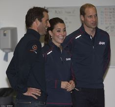 Joyful: Sir Ben Ainslie and the Duke and Duchess of Cambridge share a joke before trying out the virtual reality simulator
