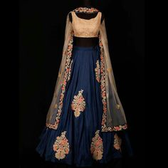 Royal blue lehenga with golden blouse.. get it done at http://mytailor.in