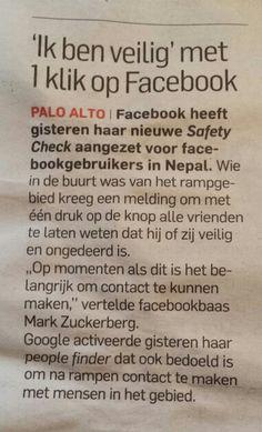 Ik ben veilig knop op facebook na ramp Nepal.  Algemeendagblad 27 april