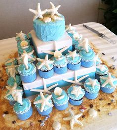 pretty seaside cupcake display