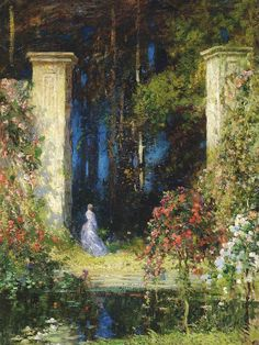 The old gateway, Thomas Edwin MOSTYN. English (1864 - 1930)     He was an illustrator of ideas and a painter of emotions, dealing with them with a firmness betraying a real knowledge of human nature