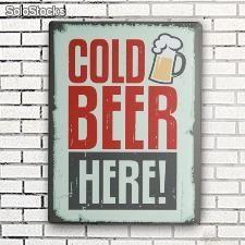Cartel de Chapa Cold Beer Here 30 x 40 cm