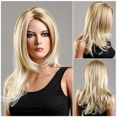 $14.16 Long Zigzag Parting Slightly Curled Fluffy Synthetic Wig