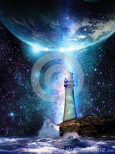 Lighthouse that illuminates the universe, and seems to be showing to the Earth the path for salvation.