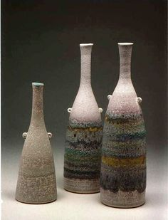 Ceramics by Jacqui Ramrayka at Studiopottery.co.uk - 2012. Bottles Group 2, height of tallest 35cm.
