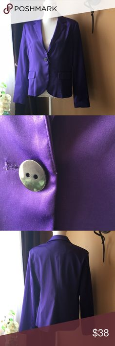 Boston Proper Purple Satin Jacket/blazer new Sexy and stylish Purple Satin blazer by Boston Proper. Jacket is lined in black. Single button closure. Has stretch to it.  Excellent New condition. No tags except for the extra button.   Pit to Pit 18 Length 23 Sleeve length 24 Measurements are approximate Boston Proper Jackets & Coats Blazers