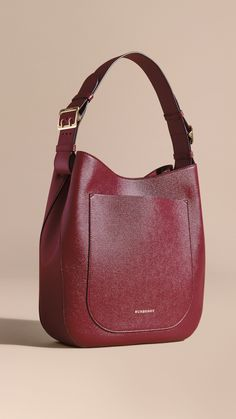 Textured Leather Shoulder Bag Dark Plum | Burberry #leathershoulderbag