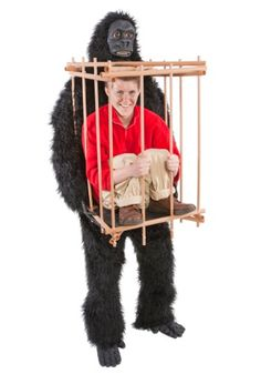 Win the costume party with this Man in a Gorilla Cage Costume! This unique illusion costume makes a funny Halloween costume idea for adults.