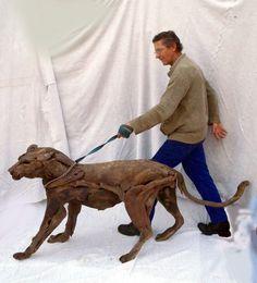 Leopard walk sculpture by Tony Fredriksson www.openskywoodart.com