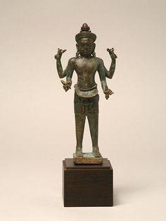 "10. Standing Diety  Thai/Khmer Koh Ker style, 10th century Bronze 7"" high"