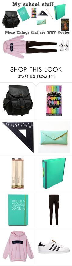 """School Stuff!!!!!!!!!Even Though it NOT Back to school."" by b-bunny4 ❤ liked on Polyvore featuring AmeriLeather, International Arrivals, Design Letters, Kate Spade, CC, Happy Jackson, adidas Originals and adidas"