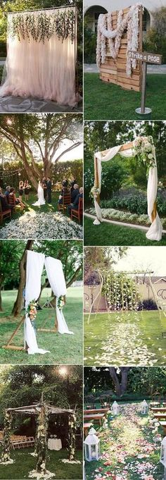 awesome backyard wedding altar and arch ideas