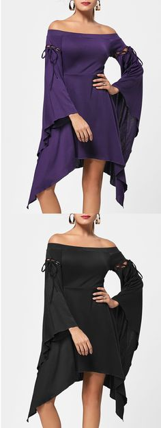 Off Shoulder Asymmetric Flare Sleeve Dress Party Outfits, Prom Party Dresses, Women's Dresses, Vintage Dresses, Dress Outfits, Cool Outfits, Casual Outfits, Dress Up, Summer Dresses