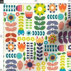 Modern Folk Embroidery Folk Art Flowers Fabric - Swedish Folk Art Colorful By Enariyoshi - Floral Scandinavian Modern Cotton Fabric By The Yard With Spoonflower - Pattern Art, Pattern Design, Print Patterns, Design Design, Motif Floral, Arte Floral, Folk Art Flowers, Flower Art, Art Scandinave