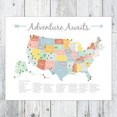 Adventure Awaits US National Park Map van BellePaperMarket op Etsy