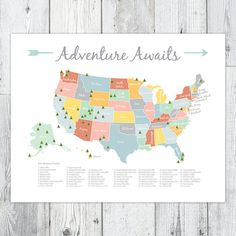 Adventure Awaits US National Park Map, Nursery/Kids Print (16x20)