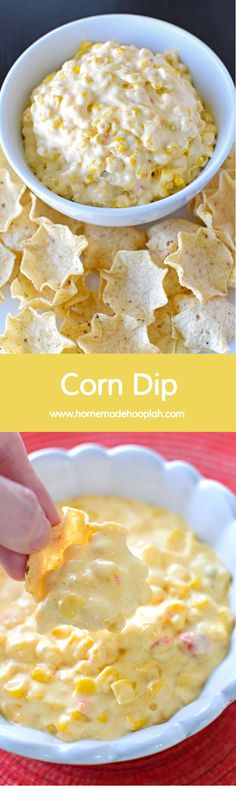 Corn Dip! An addictively good corn dip that you can throw together in 15 minutes. | HomemadeHooplah.com