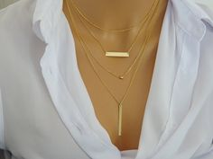 Layered Necklace Set 14k gold fill Vertical long by LAminiJewelry