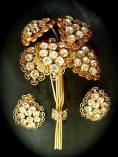 Alice Caviness Vintage 40s Brooch Pin and Earrings Set Rhinestone Bouquet Cascad | eBay