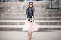 ballet trend pink tulle skirt with blanknyc black moto jacket, sophia webster chiara heel and chanel filigree vanity bag