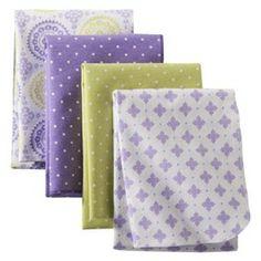 Circo® 4pk Flannel Receiving Blankets - Purple Medallion