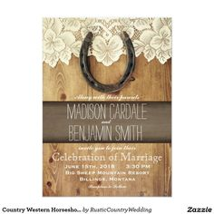 Delightful Country Western Horseshoe Lace Wedding Invitations