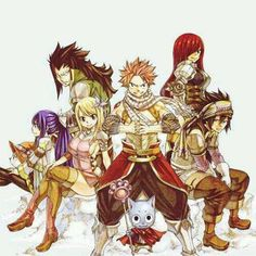 """Wendy Marvell, Gajeel Redfox, Lucy Heartfilia, Natsu Dragneel, Happy, Erza Scarlet, and Gray Fullbuster #FairyTail """""""