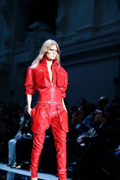 Pvc Raincoat, Alexandre Vauthier, Piece Of Clothing, Lady In Red, Female Models, Overalls, Fashion Show, Jumpsuit, Leather Jacket