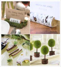 mariage rustique champêtre porte nom marque place rondin de bois mini arbre arbuste