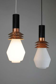 Anonymous; Enameled Metal, Copper and Glass Ceiling Lights by Stilnovo, c1950.