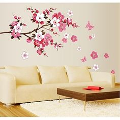 Cherry Blossom Wall Poster Waterproof Background Sticker for Bedroom Cafe wall stickers home decor pegatinas de pared 50 x - Hespirides Gifts Decoration Stickers, Nursery Wall Stickers, Removable Wall Stickers, Flower Wall Stickers, Wall Stickers Home Decor, Wall Stickers Murals, Vinyl Wall Decals, Vinyl Art, Sticker Vinyl