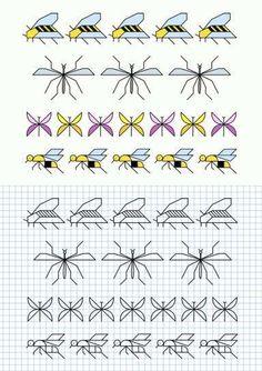 Cornicette per bambini a quadretti - Cornicette con api insetti