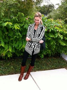 Outfit #2 – Aztec cardigan, t-shirt, black pants and brown boots.