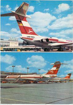 DDR REKLAME AK INTERFLUG 1970/77 Flugzeug IL 62 am Flughafen Berlin